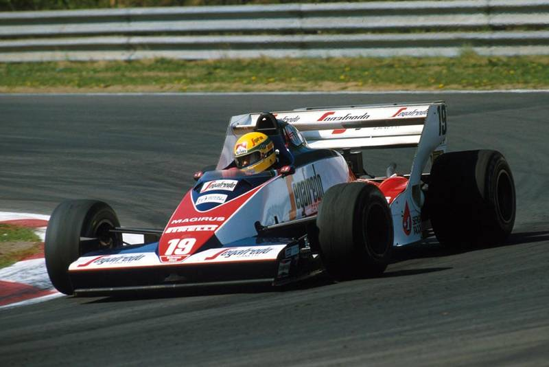 Ayrton Senna in a Toleman TG183B finished seventh.