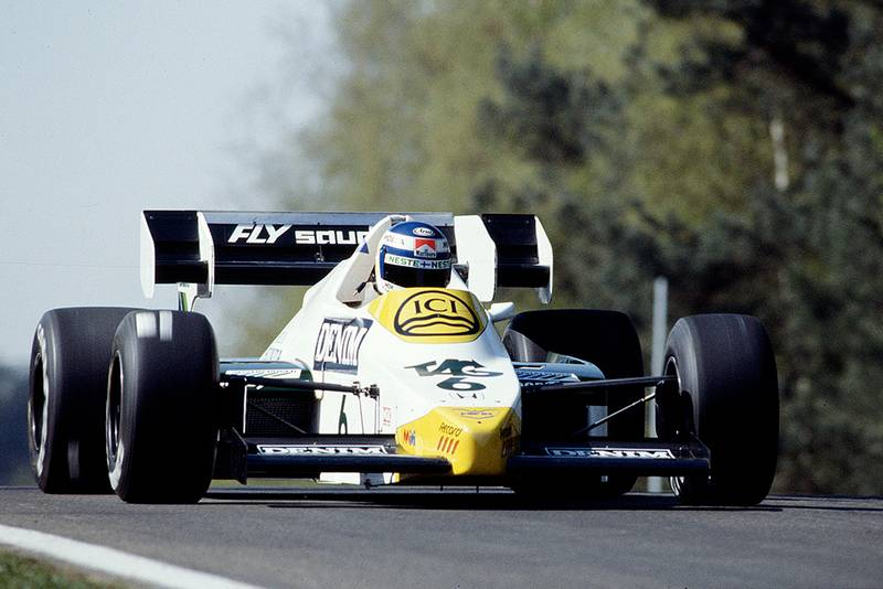 Keke Rosberg at the wheel of a Williams FW09 Honda.