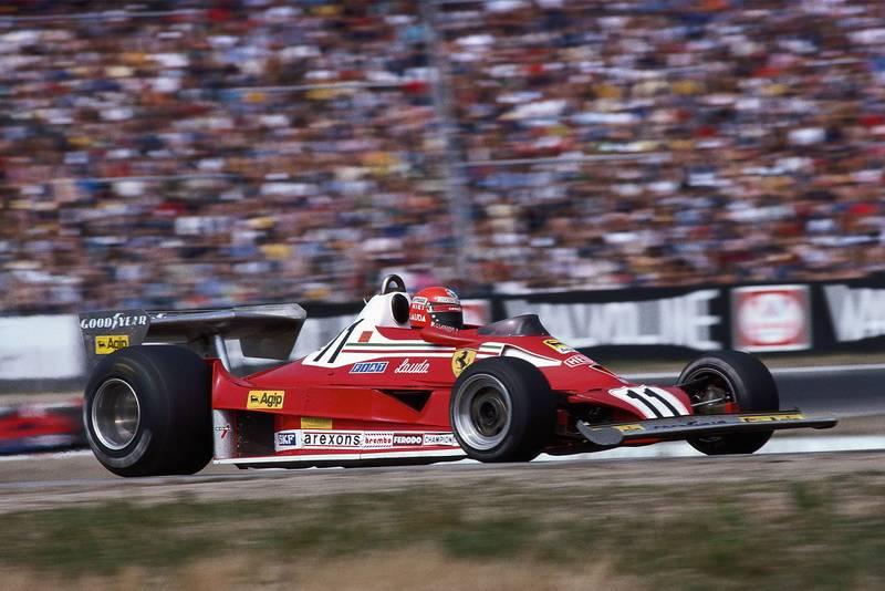 Ferrai's Niki Lauda driving at the 1977 German Grand Prix, Hockenheim.