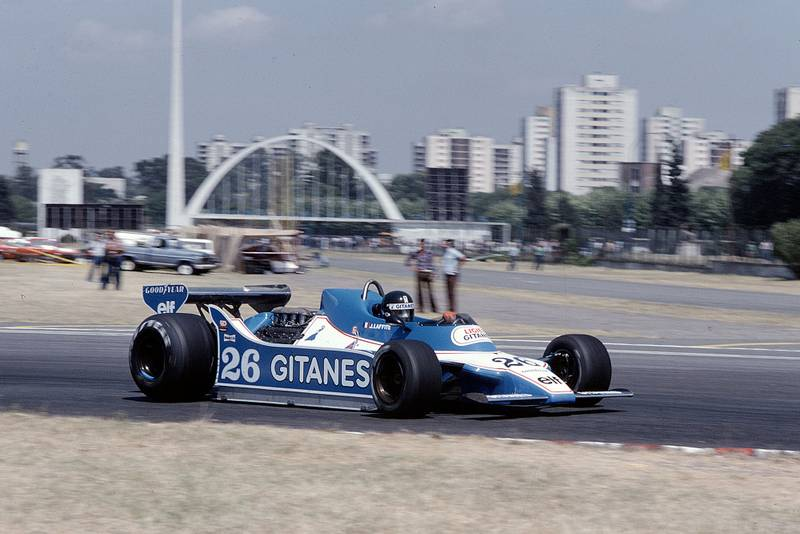 Jacques Laffite (Ligier) at the 1979 Argentine Grand Prix, Buenos Aires.