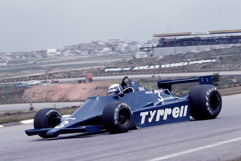 Didier Pironi (Tyrrell) driving at the 1979 Brazilian Grand Prix.