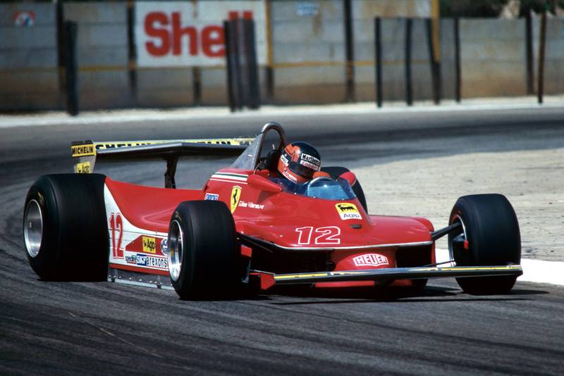 Gilles Villeneuve (Ferrari) driving at the 1979 South African Grand Prix, Kyalami.