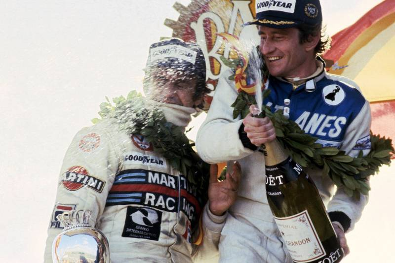 Patrick Depailler (Ligier) celebrates winning the 1979 SPanish Grand Prix, Jarama.