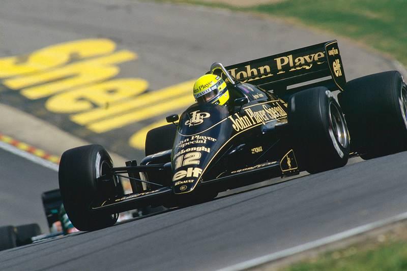Ayrton Senna retired in his Lotus 98T-Renault.