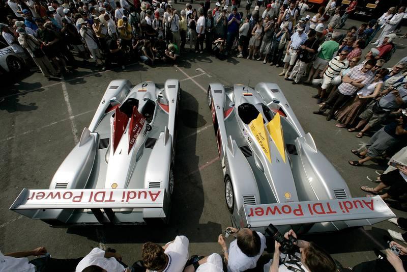 Audi R10s at Le Mans scrutineering in 2006