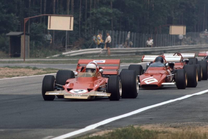 Lotus' Jochen Rindt leads Ferrari driver Jacky Ickx at the 1970 German Grand Prix