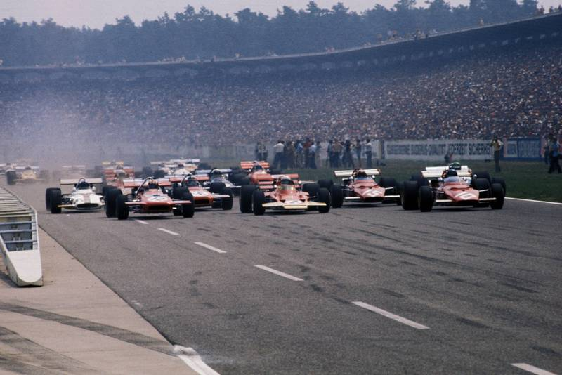 The cars pull away at the start of the 1970 German Grand Prix