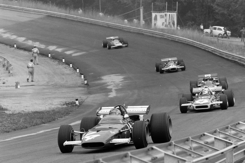 Ferrari's Ignazio Giunti leads the midfield pack at the 1970 Austrian Grand Prix.