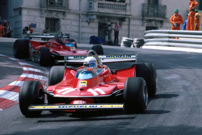 Jody Scheckter (Ferrari) driving at the 1979 Monaco Grand Prix.