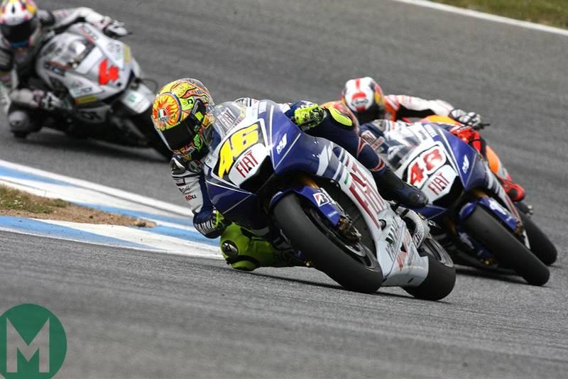 Valentino Rossi racing at 2008 Portuguese MotoGP Estoril