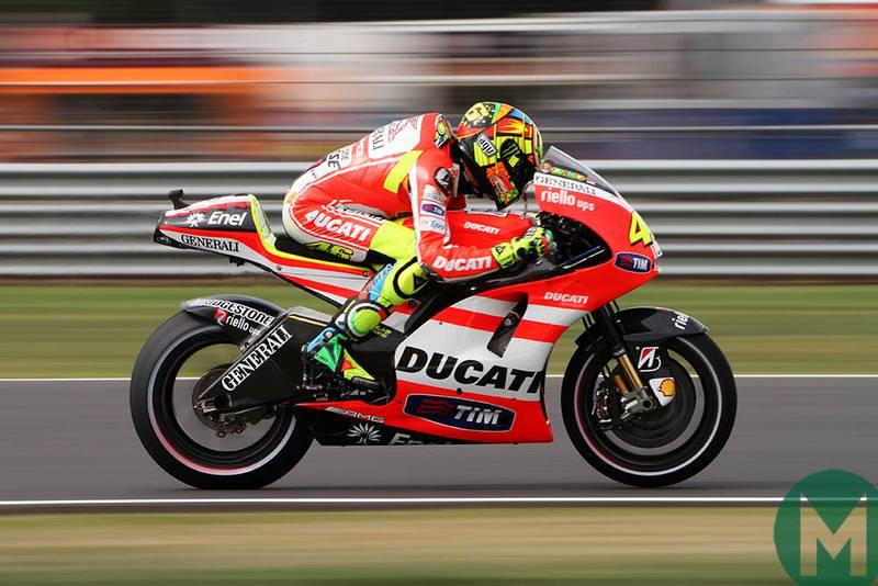 Valentino Rossi rides his Ducati at 2011 British MotoGP Silverstone