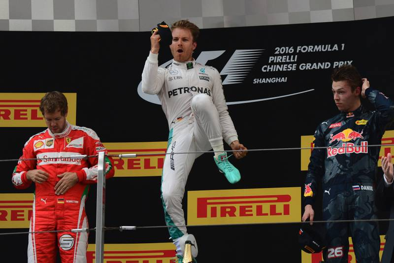 Nico Rosberg jumping in celebration