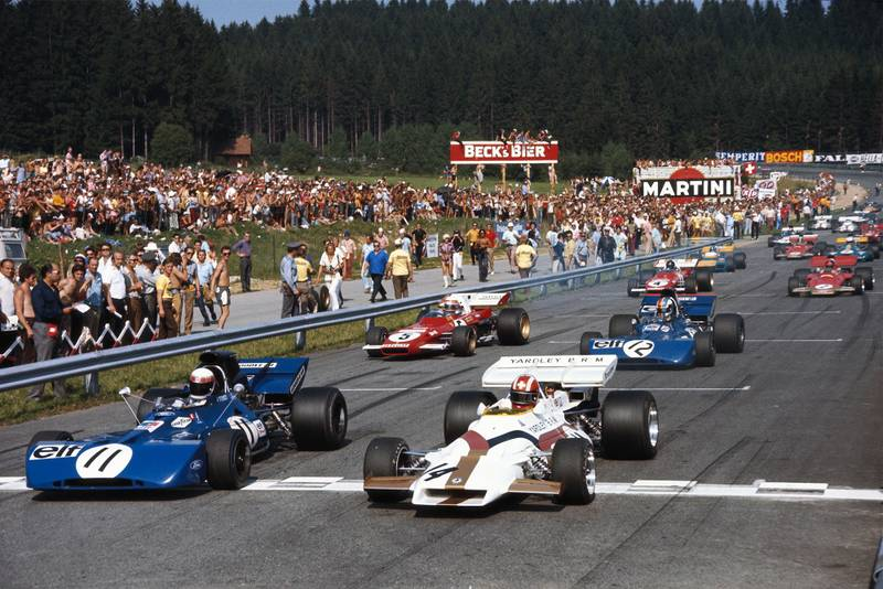 The cars pull away at the start of the 1971 Austrian Grand Prix.