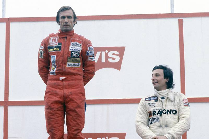 First placed Carlos Reutemann and Riccardo Patrese (3rd position) on the podium.