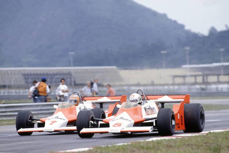 Andrea de Cesaris and John Watson (both McLaren M29F-Ford Cosworth).
