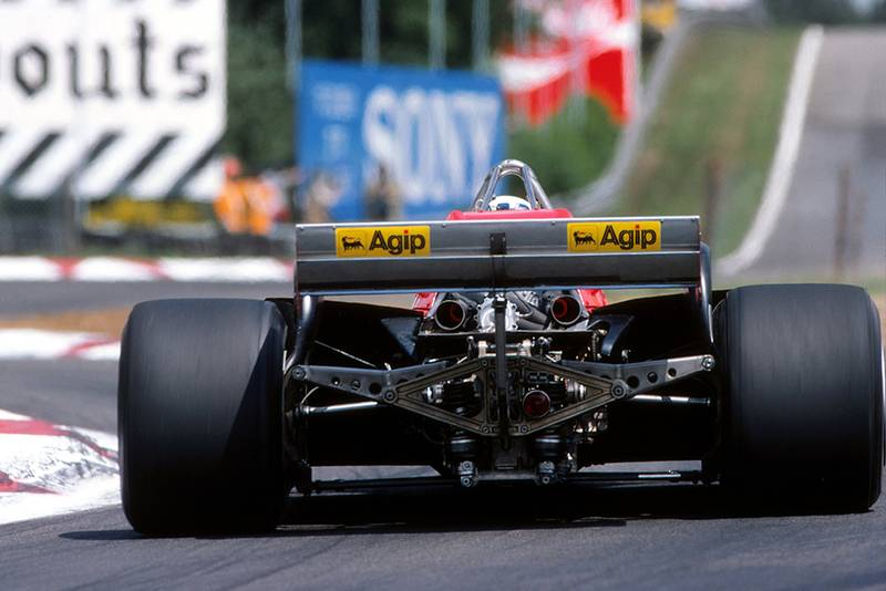 The exhausts glow on the Ferrari 126CK of Didier Pironi.