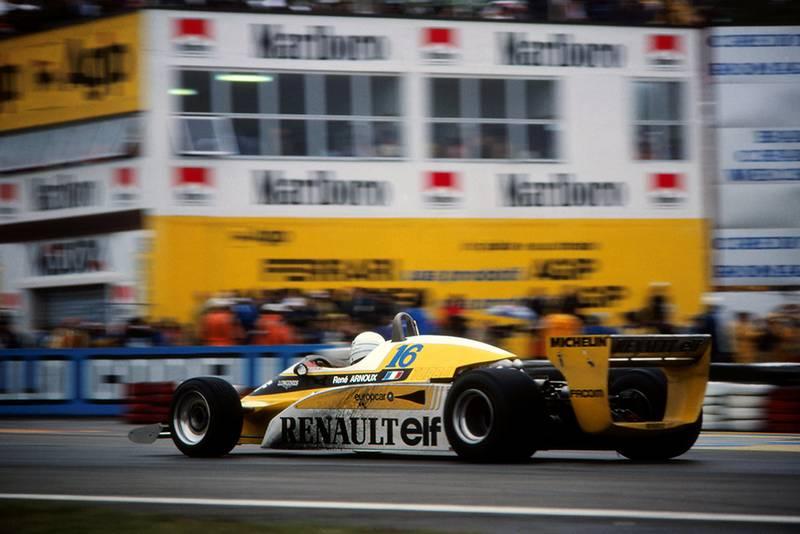 Rene Arnoux driving his Renault RE20.