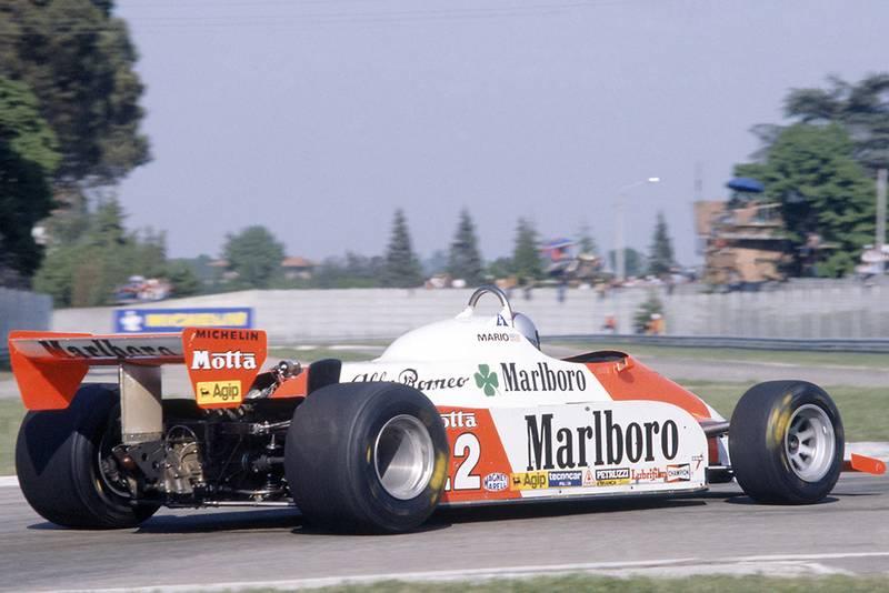 Mario Andretti retired in his Alfa Romeo 179C.