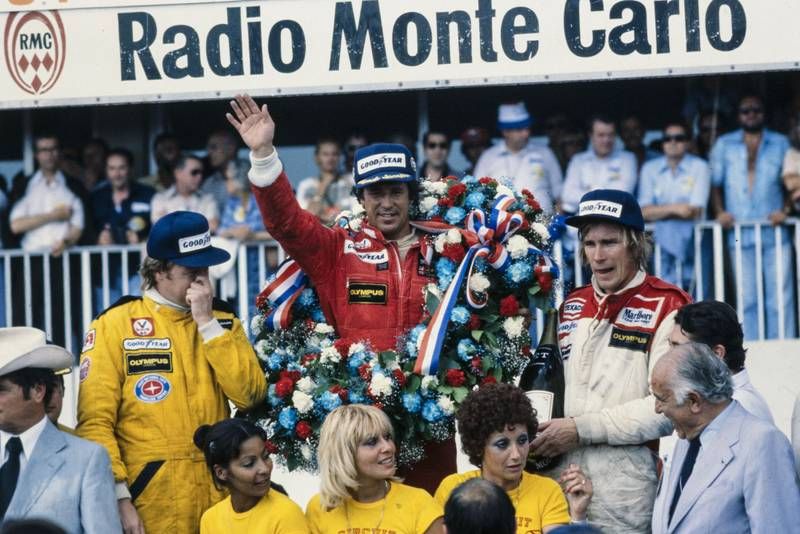 Mario Andretti (Lotus) celebrates winning the 1978 French Grand Prix, Paul Ricard.