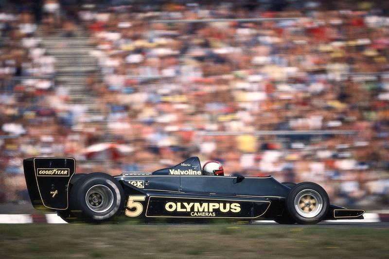 Mario Andretti (Lotus) competing at the 1978 German Grand Prix, Hockenheim.