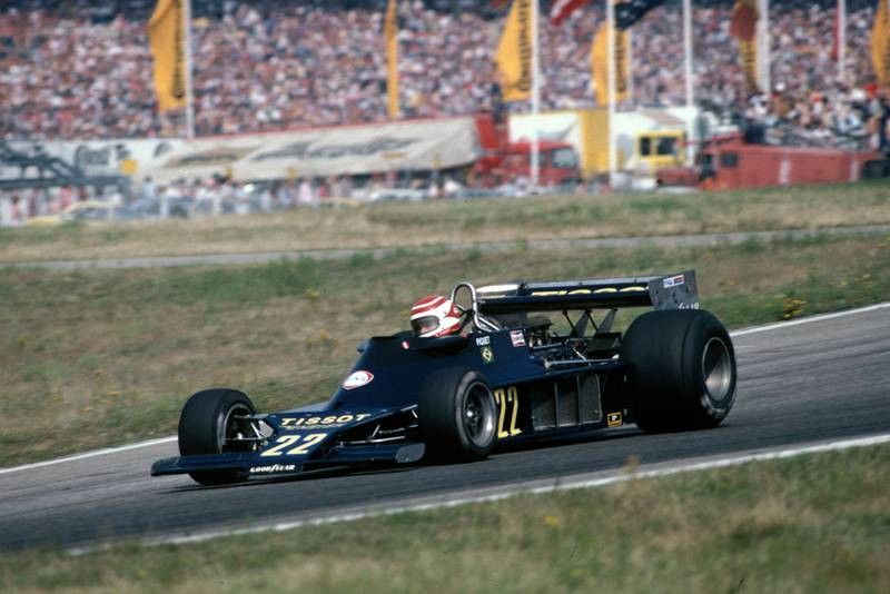 Nelson Piquet (Ensign) driving at the 1978 German Grand Prix, Hockenheim.
