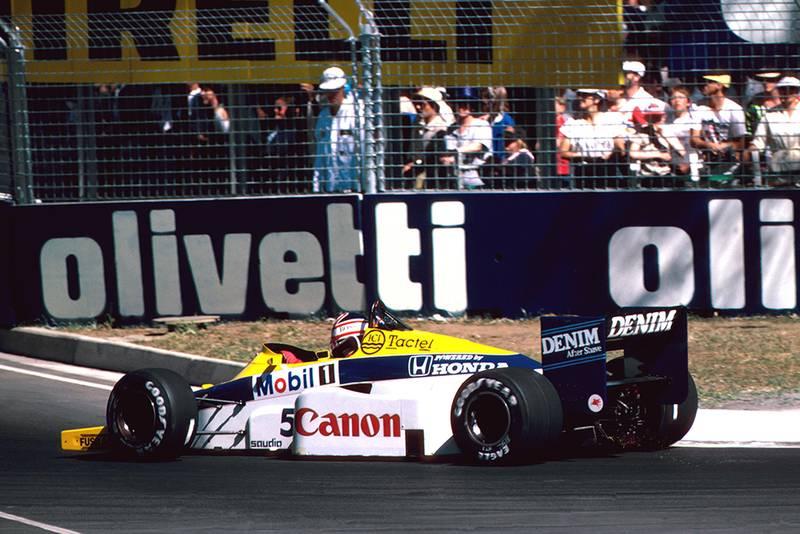 Nigel Mansell in his Williams Honda FW10.