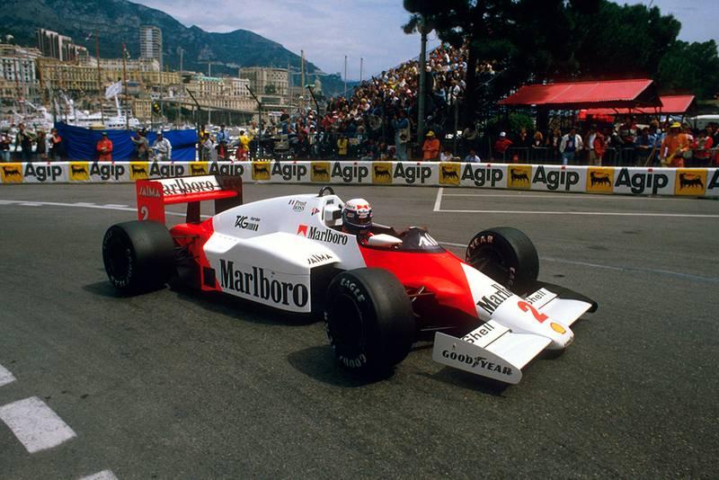 Alain Prost in his McLaren MP4/2B TAG Porsche.