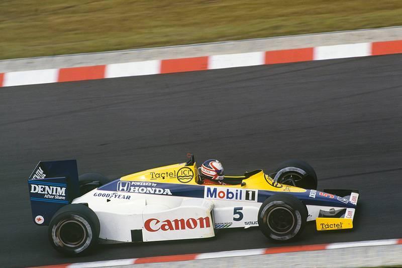 Nigel Mansell in his Williams FW10-Honda.