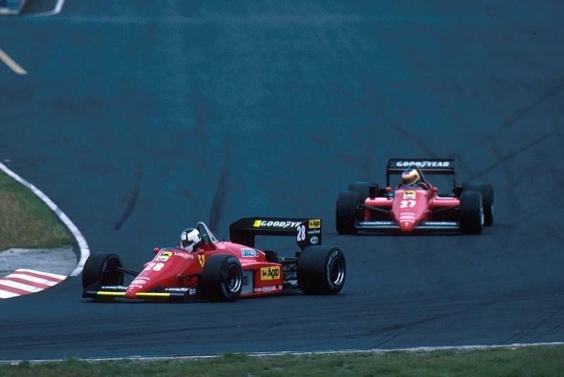 Stefan Johansson (Ferrari 156/85) leads team mate Michele Alboretto.