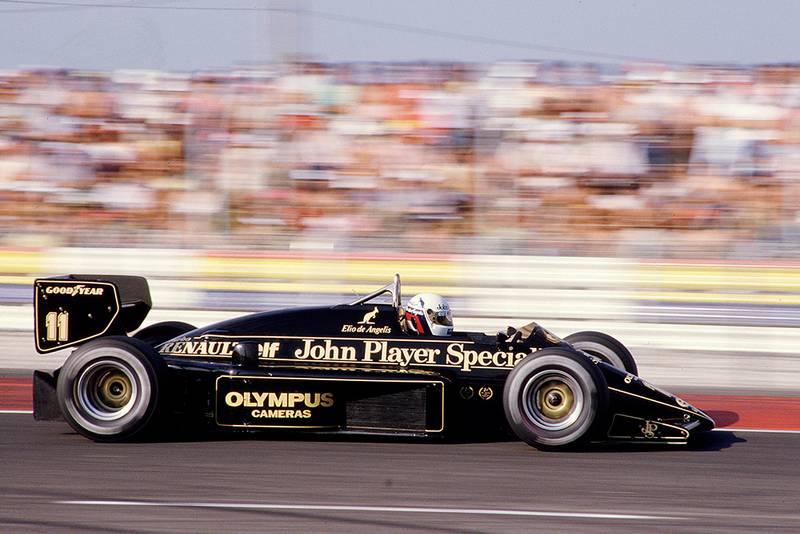 Elio de Angelis driving his Lotus 97T Renault.