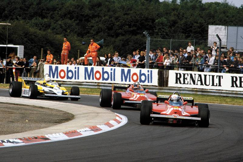 Didier Pironi leads team mate Gilles Villeneuve (both Ferrari 126CK).