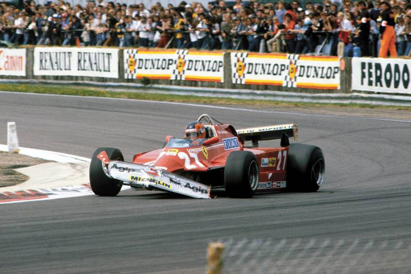 Gilles Villeneuve retired with a damaged Ferrari 126CK.