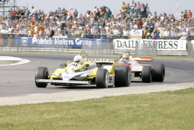 Rene Arnoux (Renault RE30) leads John Watson (McLaren MP4/1-Ford Cosworth).