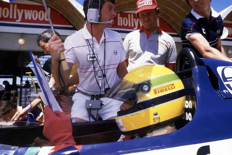 Toleman's Ayrton Senna and Pat Symonds prepare for the 1984 Brazilian Grand Prix
