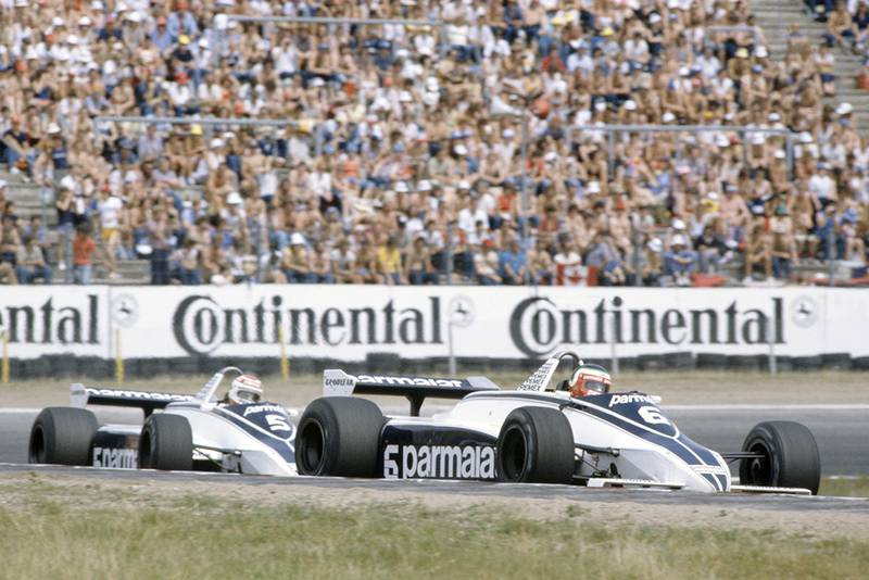 Hector Rebaque leads Nelson Piquet (both Brabham BT49C-Ford Cosworth). They finished in 4th and 1st positions respectively.