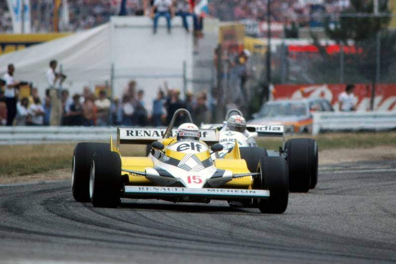 Alain Prost(Renault RE30) leads Alan Jones (Williams FW07C).