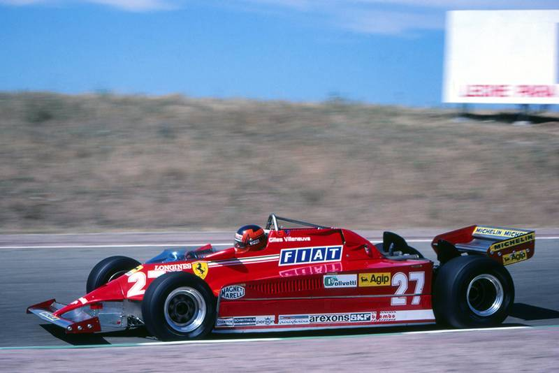 Race winner Gilles Villeneuve in his Ferrari 126CK.