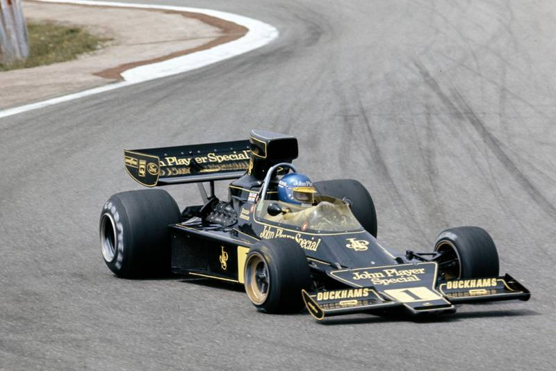 ROnnie Peterson (Lotus)takes the chicane at the 1974 Spanish Grand Prix,