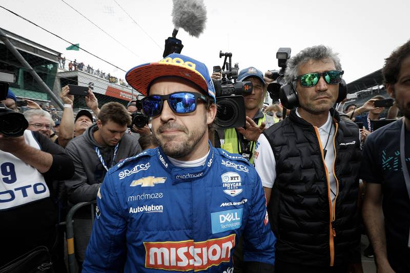 Fernando Alonso learns that he is out of the 2019 Indy 500 with Mclaren