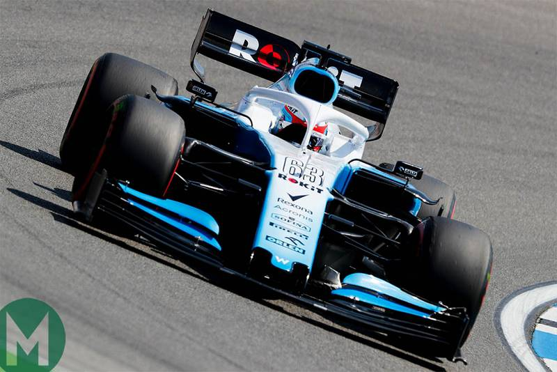 George Russell in the Williams during 2019 German Grand Prix FP1