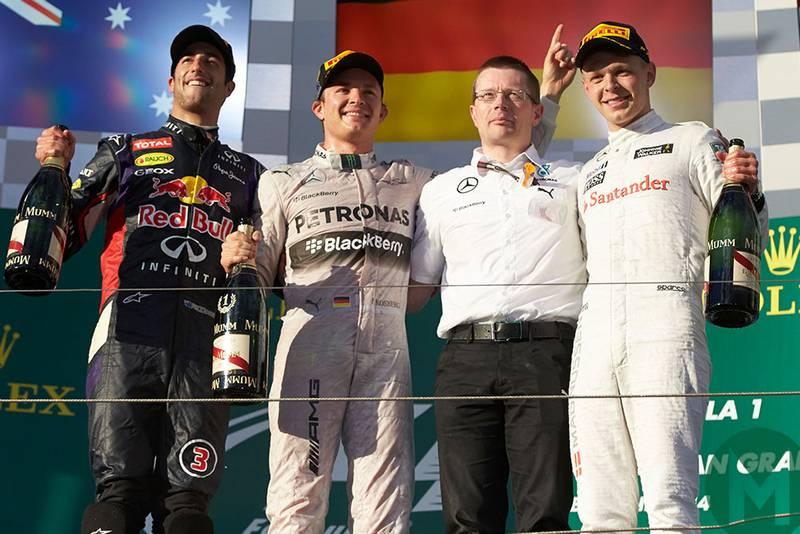 Podium celebrations t the 2014 Australian Grand Prix, with Nico Rosberg, Daniel Ricciardo and Kevin Magnussen