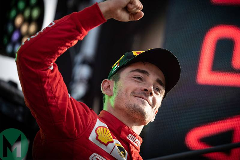 Charles Leclerc walks out onto the podium at Monza after winning the 2019 Italian Grand Prix