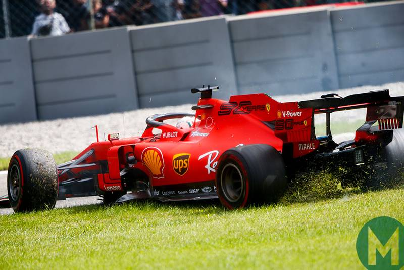 Sebastian Vettel rejoins the track during the 2019 Italian Grand Prix