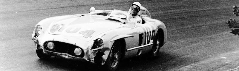 Stirling Moss at the wheel of the Mercedes SLR300 during the 1955 Targa Florio