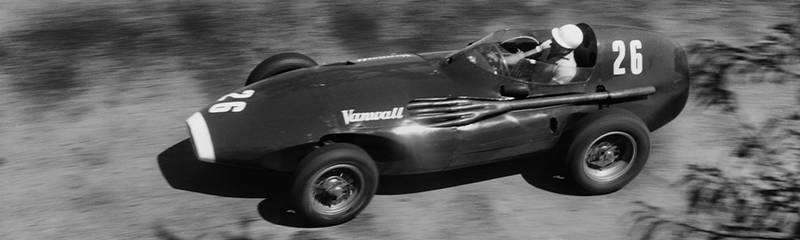 Stirling Moss in his Vanwall during the 1957 Pescara Grand Prix