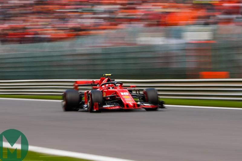 Charles Leclerc powers down a straight at the 2019 Belgian Grand Prix