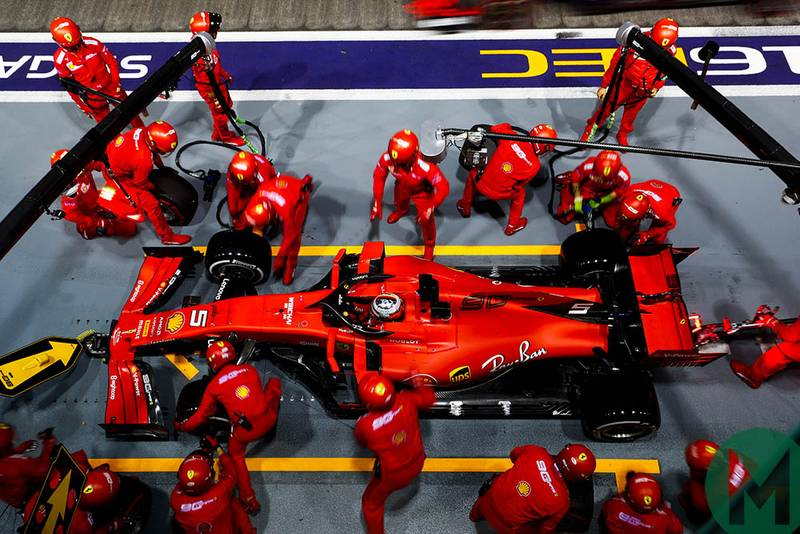 Sebastian Vettel makes his only pitstop at the 2019 F1 Singapore Grand Prix