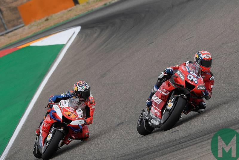 Jack Miller follows Andrea Dovizioso at the 2019 Aragon MotoGP Grand Prix