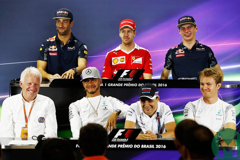 Charlie Whiting next to Lewis Hamilton at the drivers' press conference ahead of the 2016 Brazilian Grand Prix