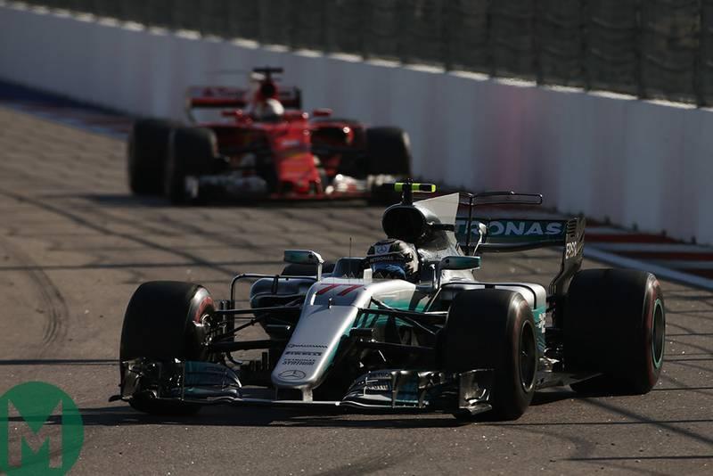 Sebastian Vettel follows Valtteri Bottas during the 2017 F1 Russian Grand Prix